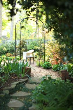 restored Five Points garden - arbor