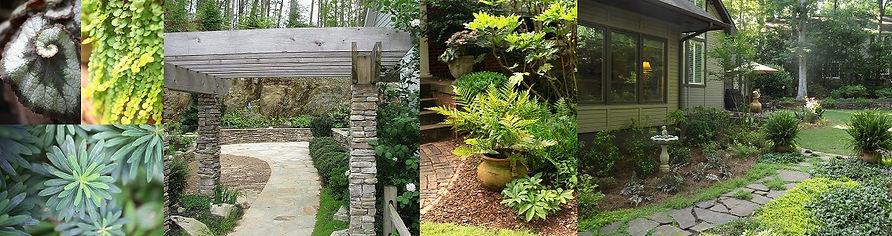 perennial shade garden, rustic contemporary garden
