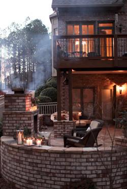 brick/stone patio, outdoor lighting