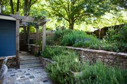 terraced fieldstone walls with herbs