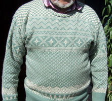 Mans Fairisle Jersey in Blue and White