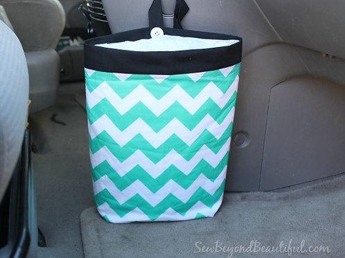 Trash Bag for the Car-Turquoise chevron