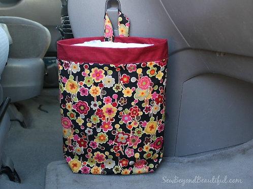 Trash Bag for the Car- maroon trim, flowers
