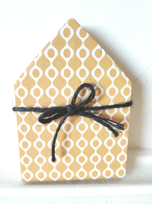 Mustard Mini Wood House 5""
