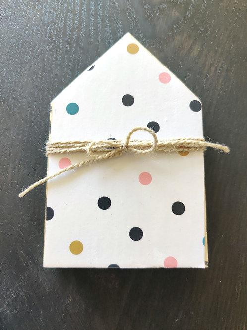 """Polka Dot Mini Wood House 5.5"""""""