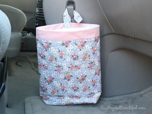 Trash Bag for the Car- Pink trim with flowers
