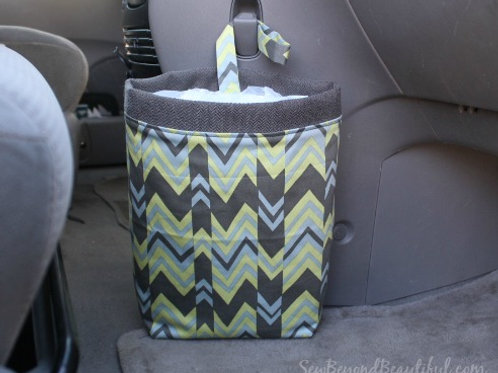 Trash Bag for the Car- Light Green and Gray Chevron