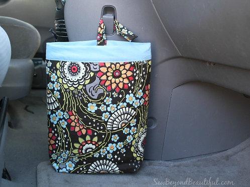 Trash Bag for the Car- blue trim, big flower