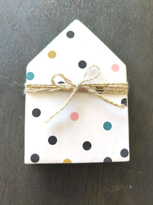 """Polka Dot Mini Wood House 5"""""""