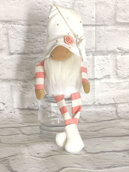 Peachy Pink Striped Gnome