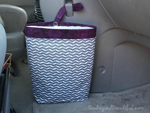 Trash Bag for the Car- Purple trim, gray chevron