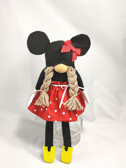 Minnie Mouse Gnome- light brown hair