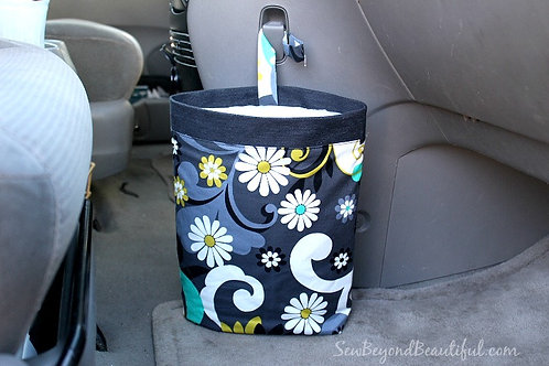 Trash Bag for the Car- Gray, Large Flowers