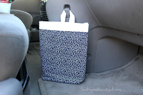 Trash Bag for the Car- Navy with white circles