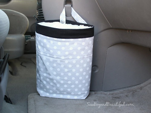 Trash Bag for the Car- Black trim, gray with white polka dots