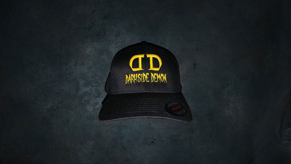 BLACK FLEXFIT BALL CAP WITH GOLD DARKSIDE DEMON EMBROIDERY