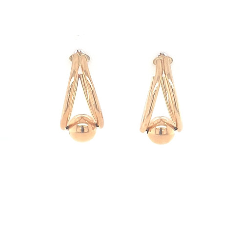 9ct Gold Drop Earrings With Bead End