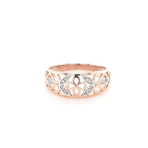 9ct Rose Gold Diamond Leaf ring