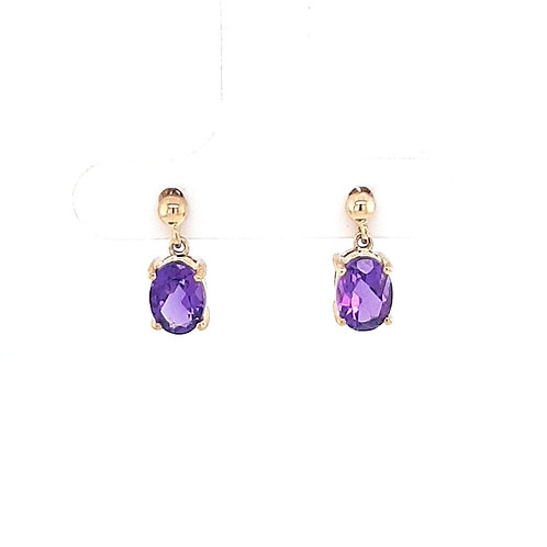 9ct Oval Amethyst Earrings