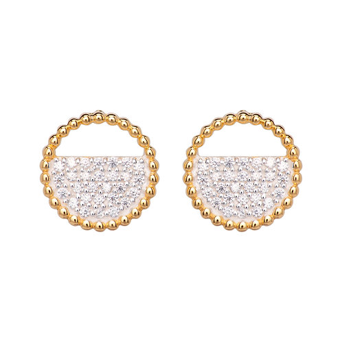 Unique Silver CZ Gold Plated Circle Beaded Studs Earrings ME 777