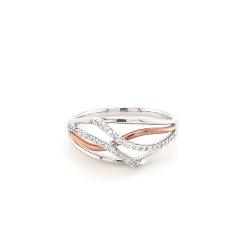 9ct Rose & White Gold Diamond Ring