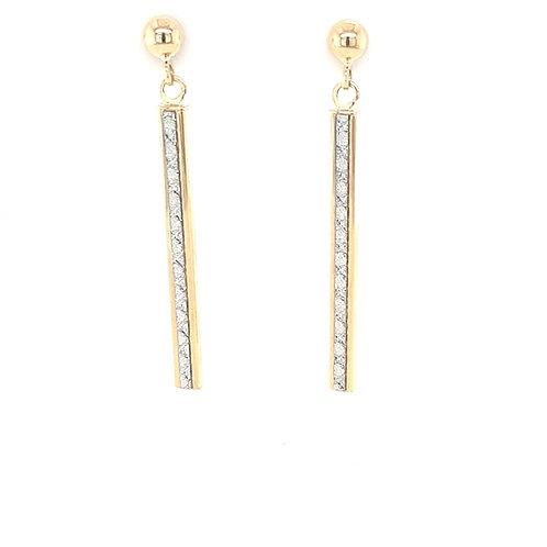 9ct Drop CZ Earrings