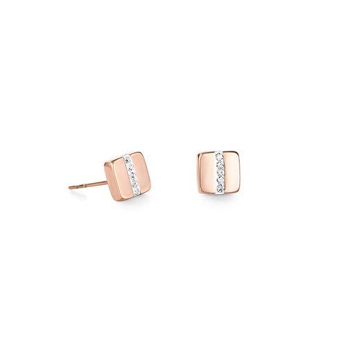 Coeur De Lion Rose Gold Pave Crystal Earrings