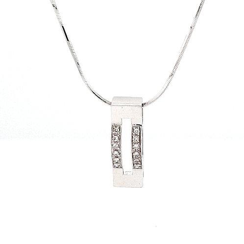 9ct Diamond Bar Pendant
