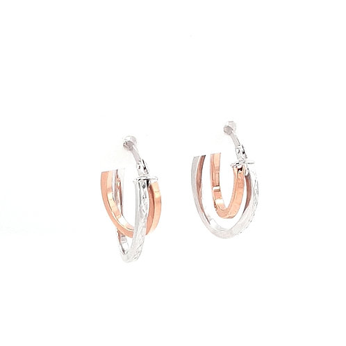 9ct White & Rose Gold Creole Earrings