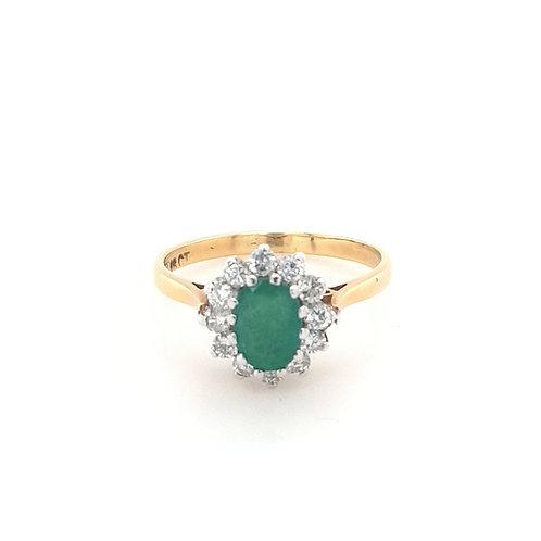 18ct Emerald & Diamond Cluster