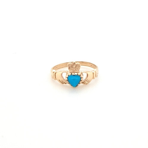 9ct Ladies Turquoise Claddagh Ring
