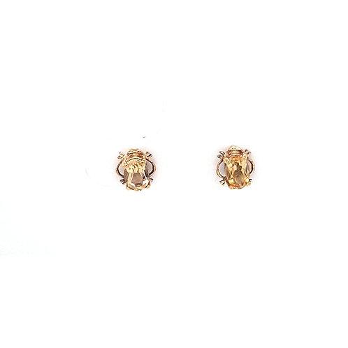 9ct Citrine Oval Stud Earrings