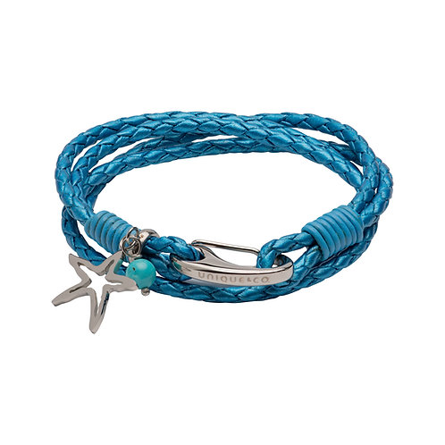 Metallic Blue Leather Bracelet With Shrimp Clasp Star Turquise Bead B469     ead