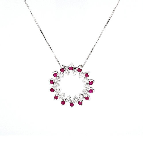 18ct Ruby & Diamond Circle Pendant