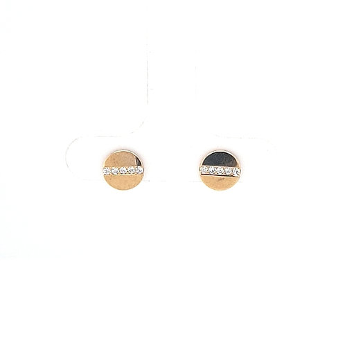9ct Flat Circle CZ Stud Earrings