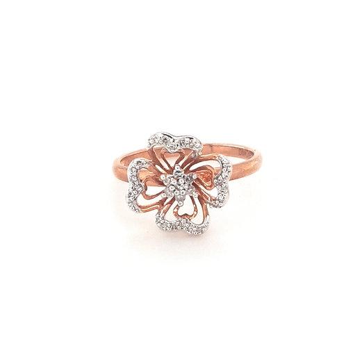9ct Rose Gold Diamond Flower Ring