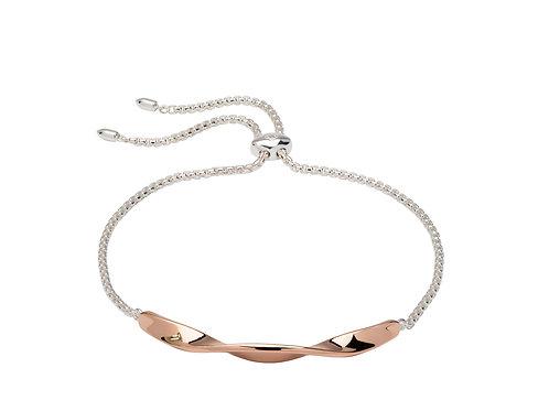 Unique Silver Rose Gold Plated Twist Bar Bracelet MBR 603