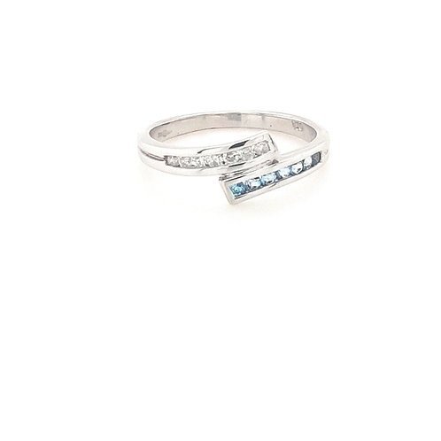 9ct Aqua & CZ Ring