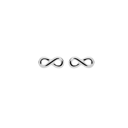 Unique Silver Tiny Solid Infinity Stud Earrings ME 726