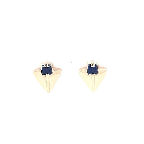 9ct Earrings With Synthetic Blue Sapphire