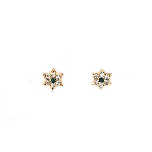 9ct Star Sapphire & CZ Stud Earrings