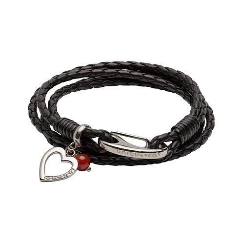 Black Leather Bracelet Shrimp Clasp Heart CZ Red Agate Bead B464