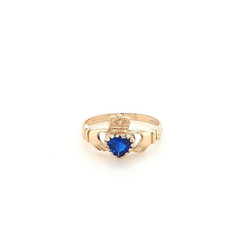 9ct Ladies Created Sapphire Claddagh Ring