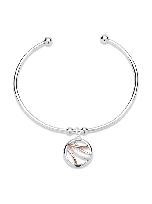 Unique Silver Torque Rose Plated Bangle MB 530