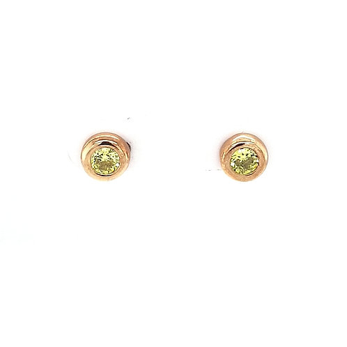 9ct Synthetic Peridot Stud Earrings