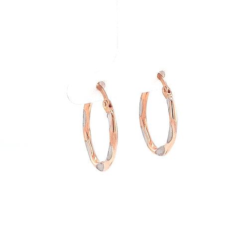 9ct Yellow & Rose Gold Creole Earring