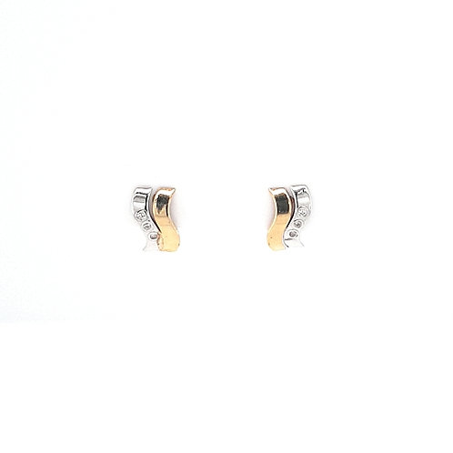 9ct Yellow & White CZ Earrings