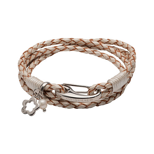 Pearl Leather Bracelet With Steel Shrimp Clasp Flower CZ Pearl B467PE