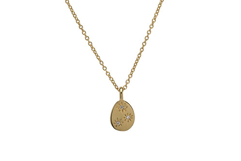 Unique Silver Gold Plated Pendant With White Sapphires MK 703