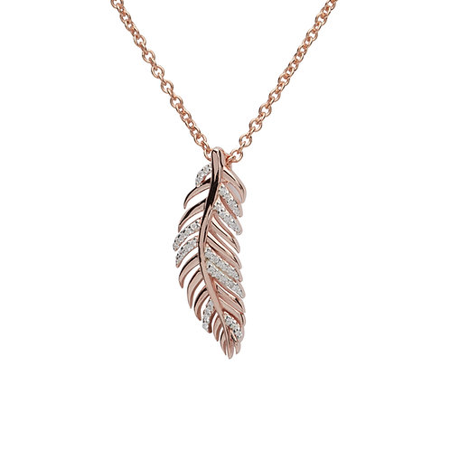 Unique Silver Rose Gold Plated CZ Feather Pendant